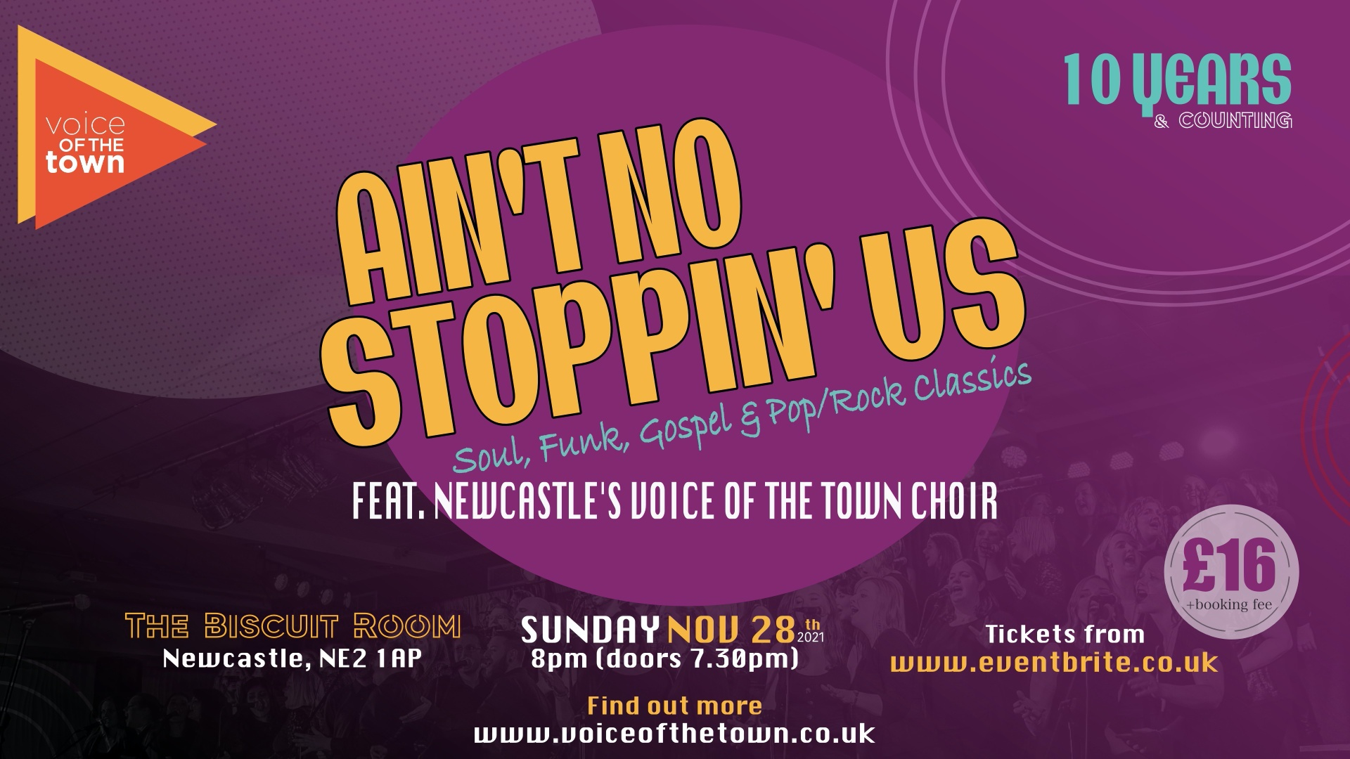 Voice of the Town Ain't No Stoppin' Us Gig Banner